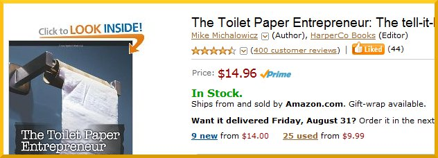 The Toilet Paper Entrepreneur has 400 reviews in Amazon