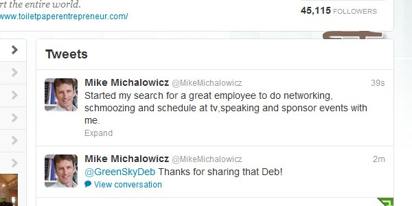 A sample of using twitter to find an employee