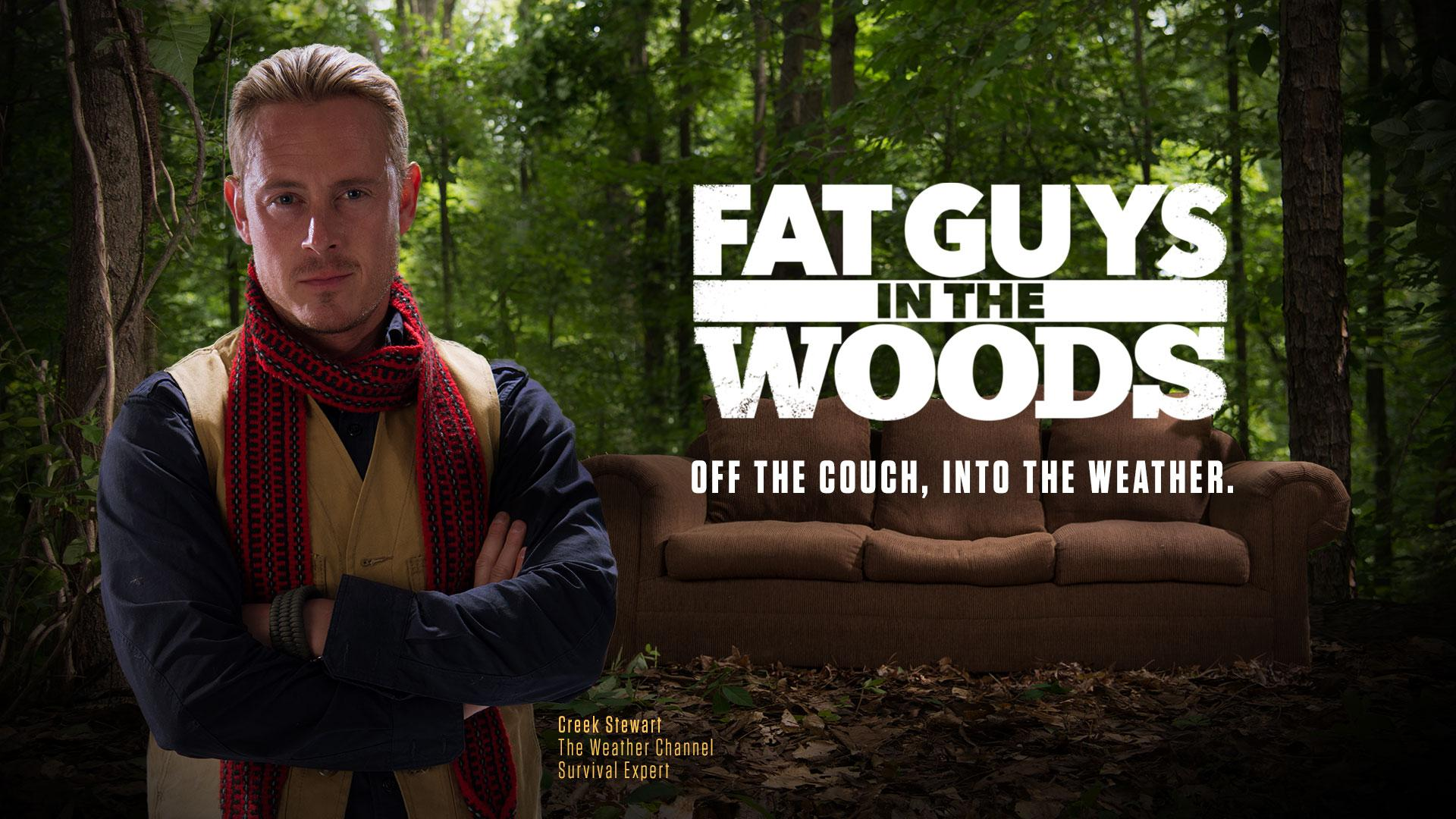 Fat man in the woods